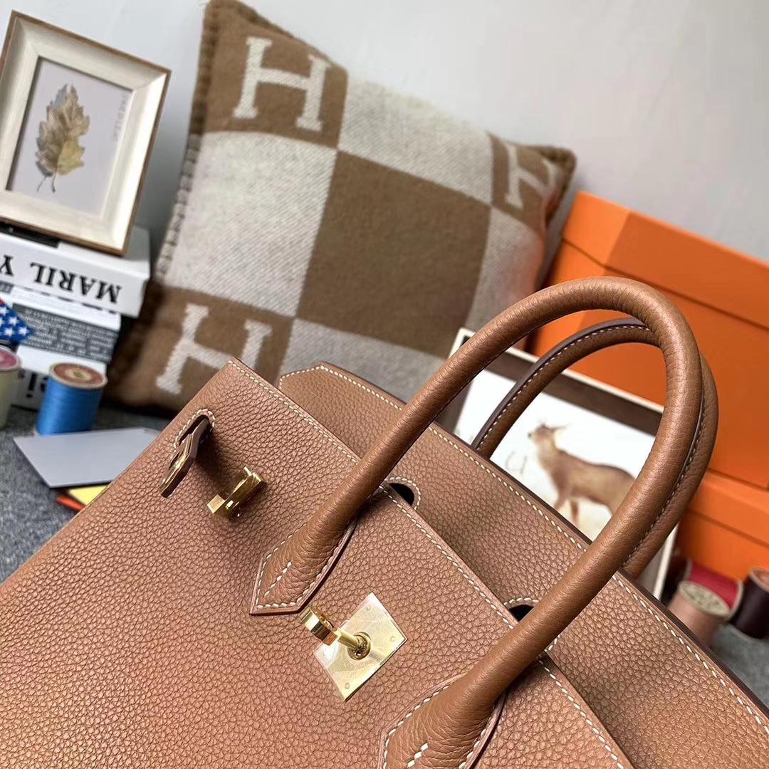 Hermès(爱马仕)浅咖啡 原厂御用顶级小牛皮 Birkin 25 金扣 现货