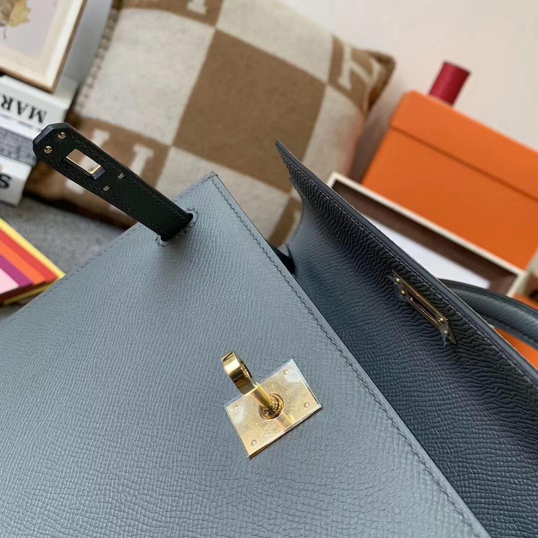 Hermès(爱马仕)杏绿色 原厂御用顶级Epsom 皮 Kelly 25 外缝 金扣 现货