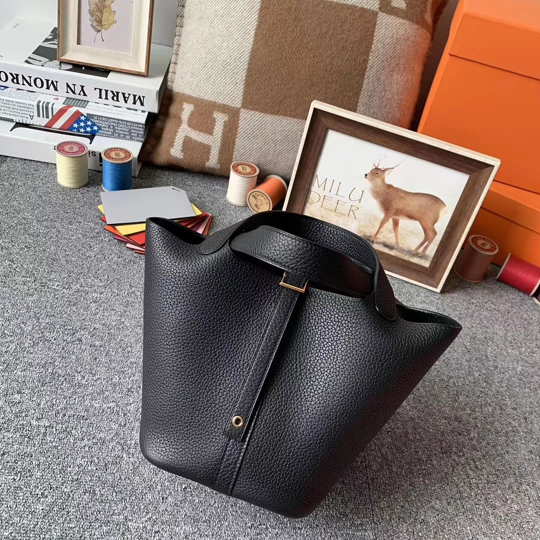 Hermès(爱马仕)CK89 黑色 原厂御用顶级TC 皮 Picotin  Lock 18cm 金扣 现货