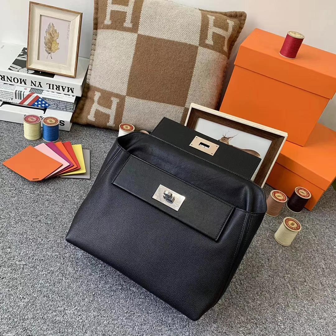 Hermès(爱马仕)CK89 黑色 原厂御用顶级小牛皮拼Swift 皮 2424 银扣 现货