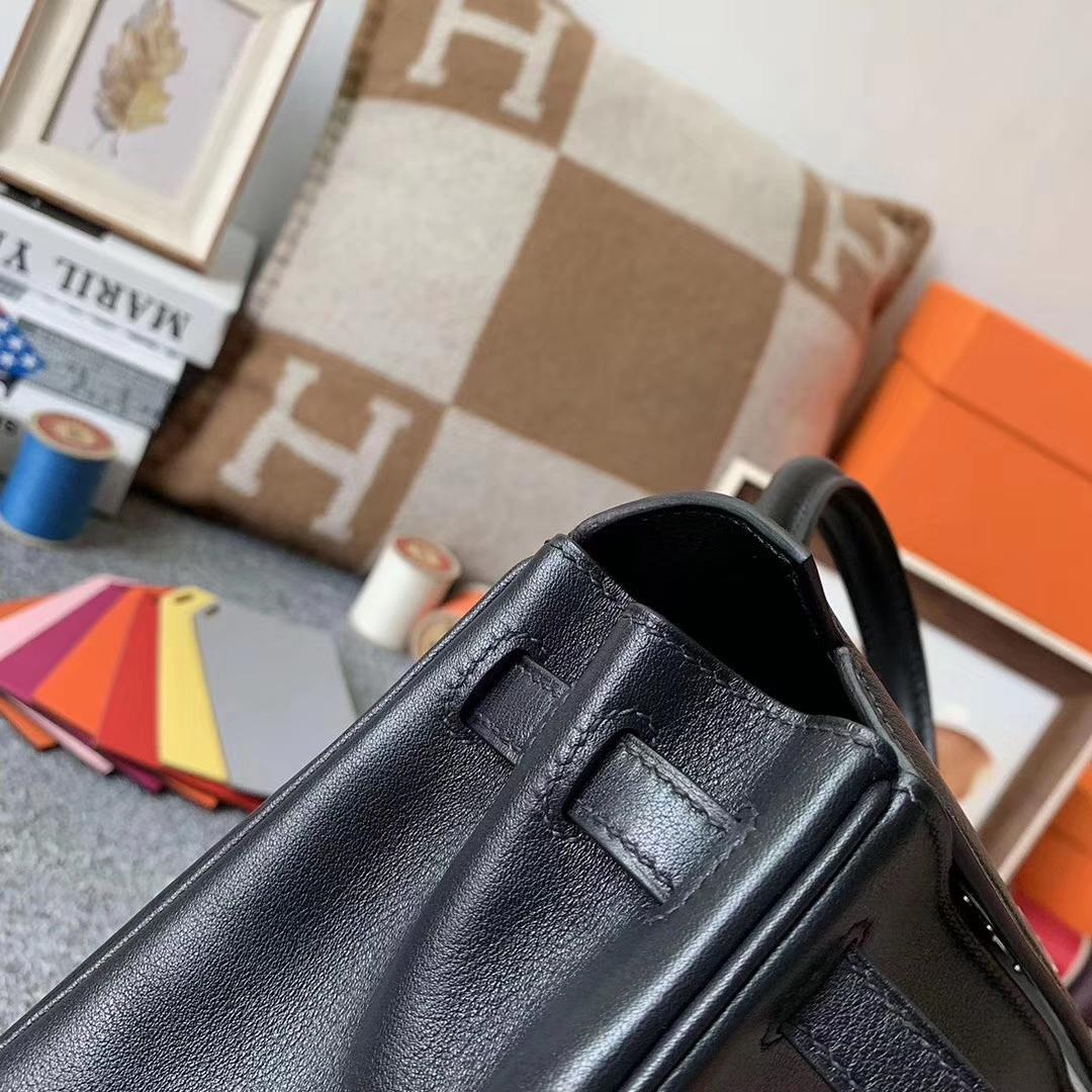 Hermès(爱马仕)CK89 黑色 原厂御用顶级Swift 皮  Kelly 25 内缝 银扣