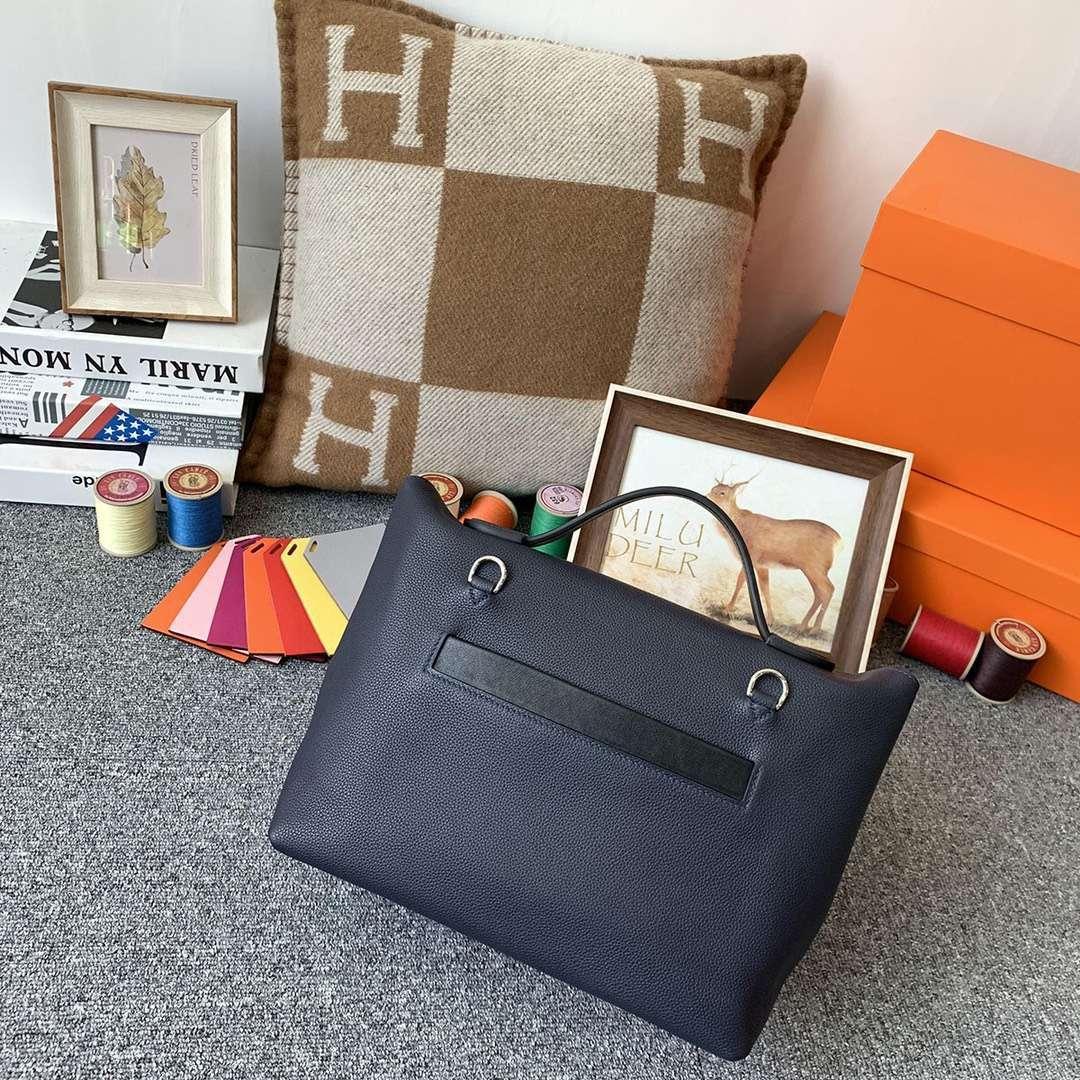 Hermès(爱马仕)午夜蓝拼黑色 原厂御用顶级TC皮拼Swift 皮 2424 银扣 现货