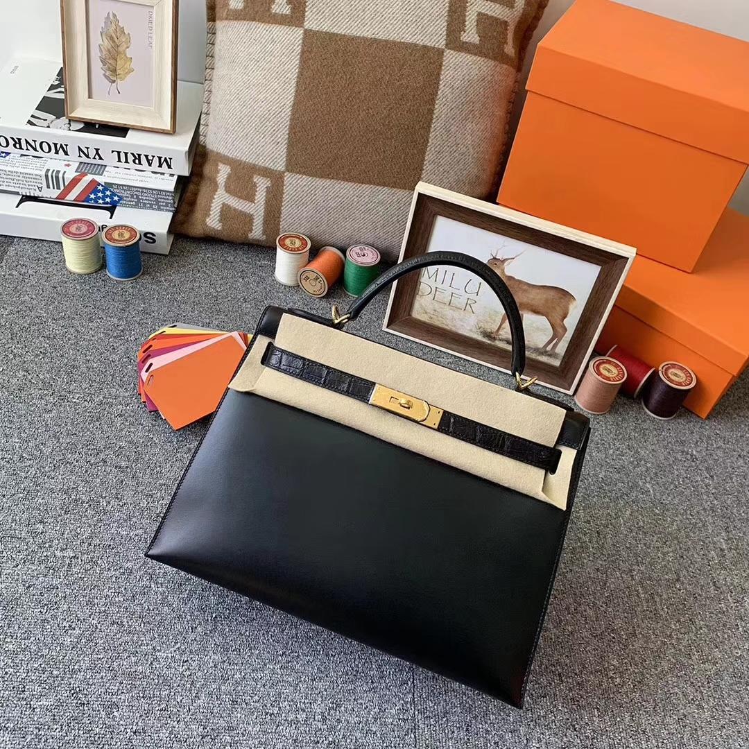 Hermès(爱马仕)CK89 黑色 原厂御用顶级Box 皮拼鳄鱼皮 Kelly 32 外缝 金扣