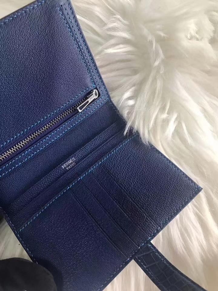 Hermès(爱马仕)bearn 短款钱夹 深蓝色 原装等级进口美洲鳄鱼 现货
