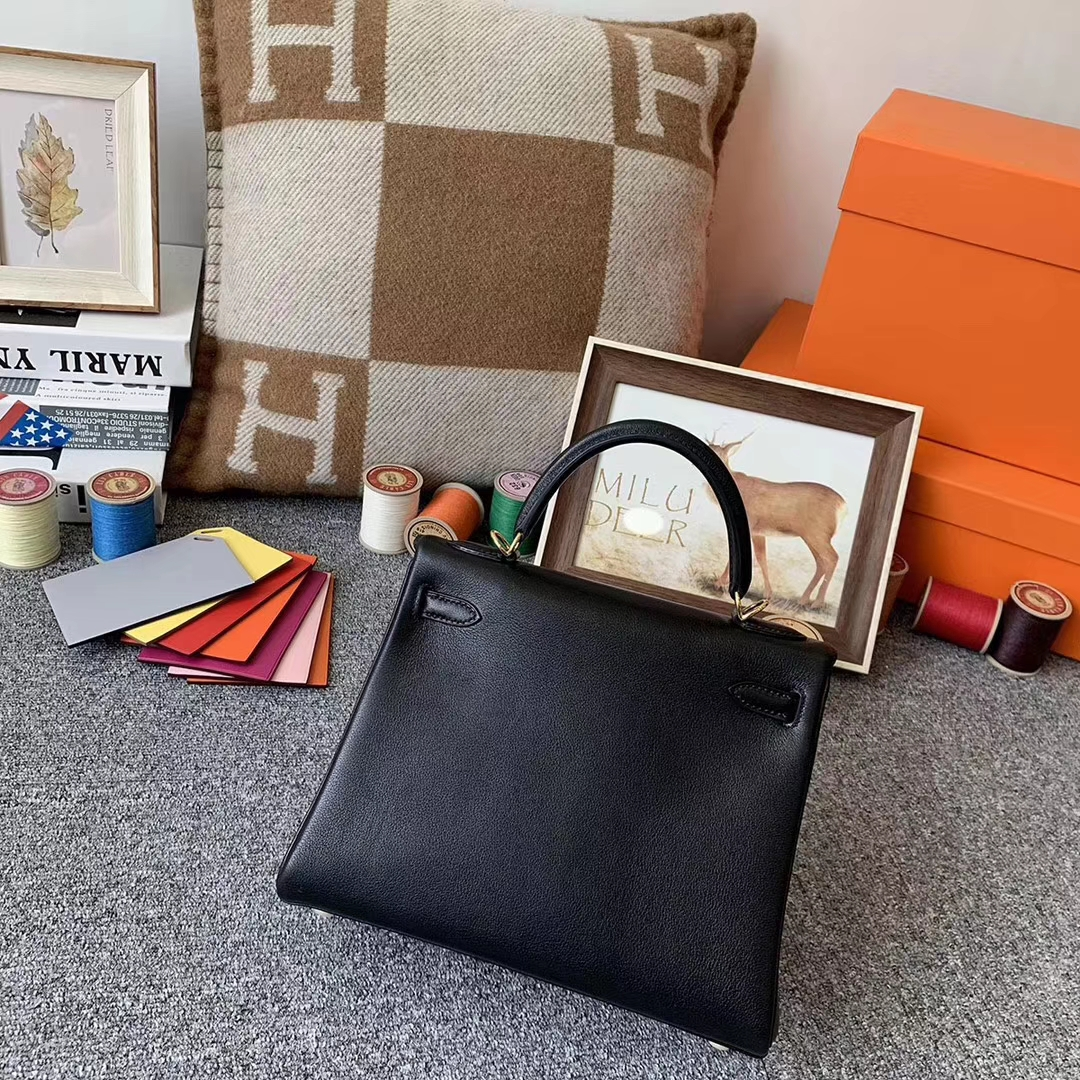 Hermès(爱马仕)CK89 黑色 原厂御用顶级Swift 皮 Kelly 25 内缝 金扣