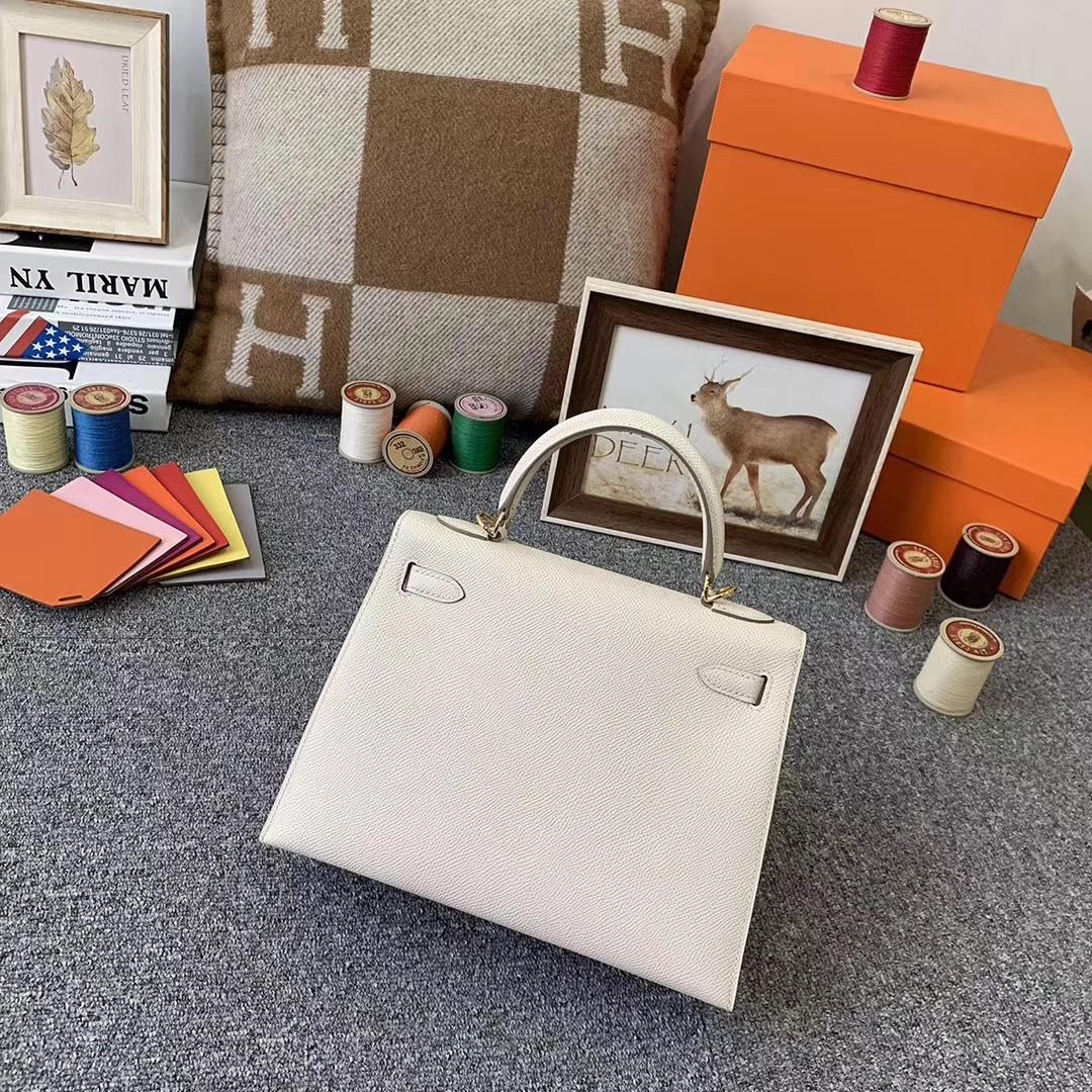 Hermès(爱马仕)奶昔白 原厂御用顶级Epsom 皮 Kelly 25 外缝 金扣 现货