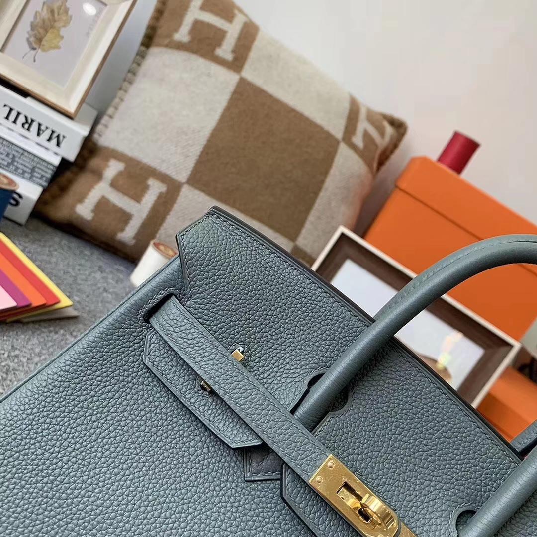 Hermès(爱马仕)杏绿色 原厂御用顶级小牛皮 Birkin 25 金扣 现货
