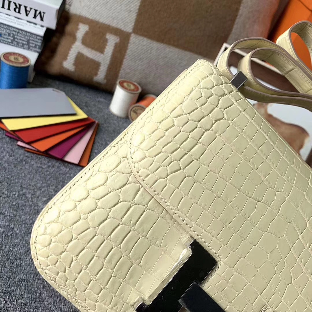 Hermès(爱马仕)玉米黄 原厂御用顶级雾面鳄鱼皮 Constance 24 银扣