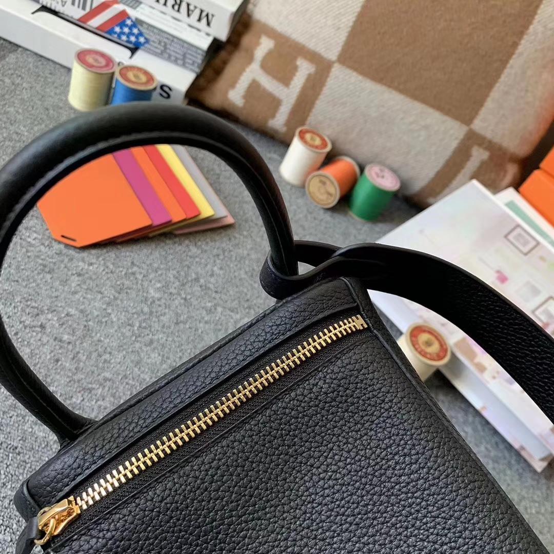 Hermès(爱马仕)CK89 黑色 原厂御用顶级TC皮 Lindy 30 金扣 现货