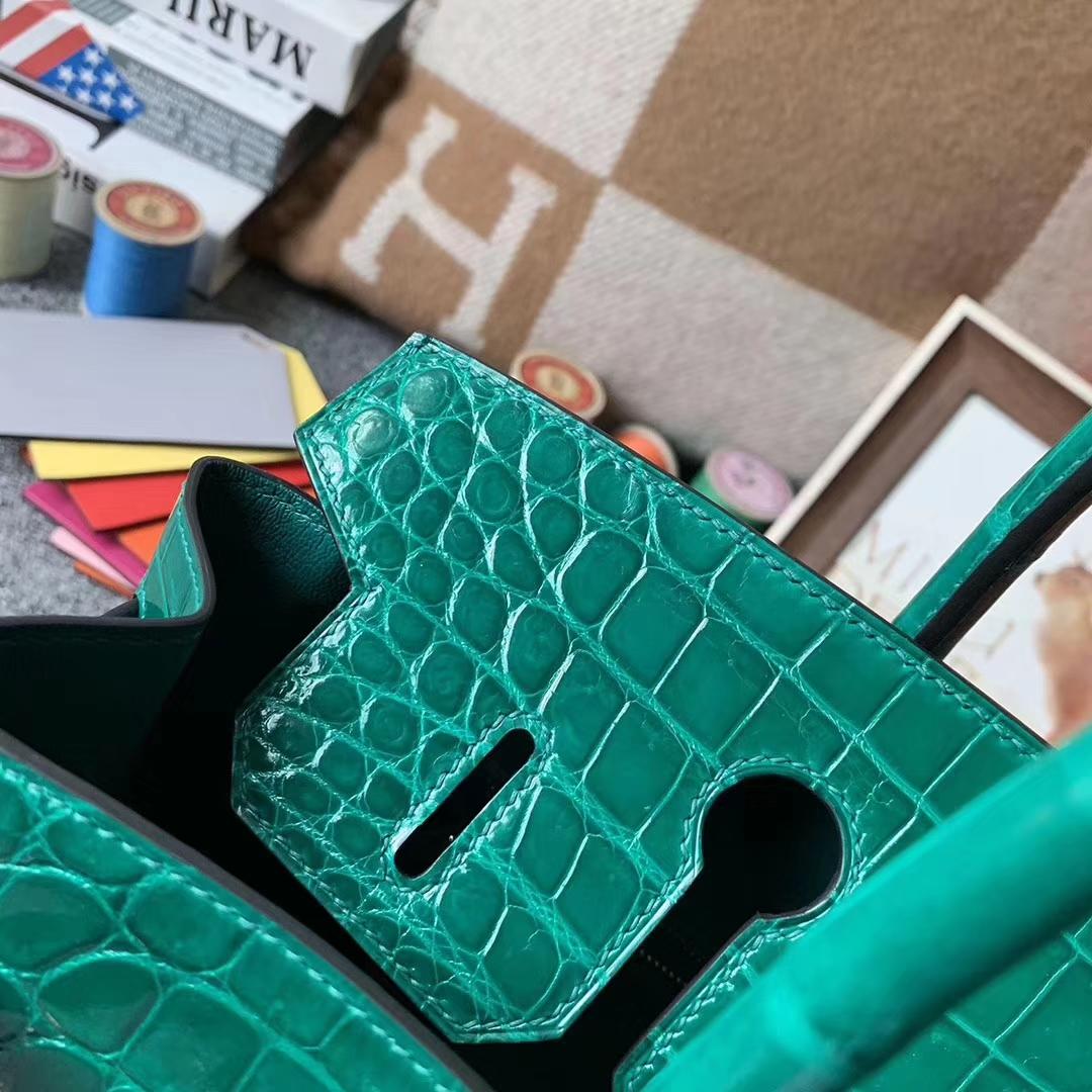 Hermès(爱马仕)6Q翡翠绿 原厂御用顶级鳄鱼皮 Birkin 30 金扣