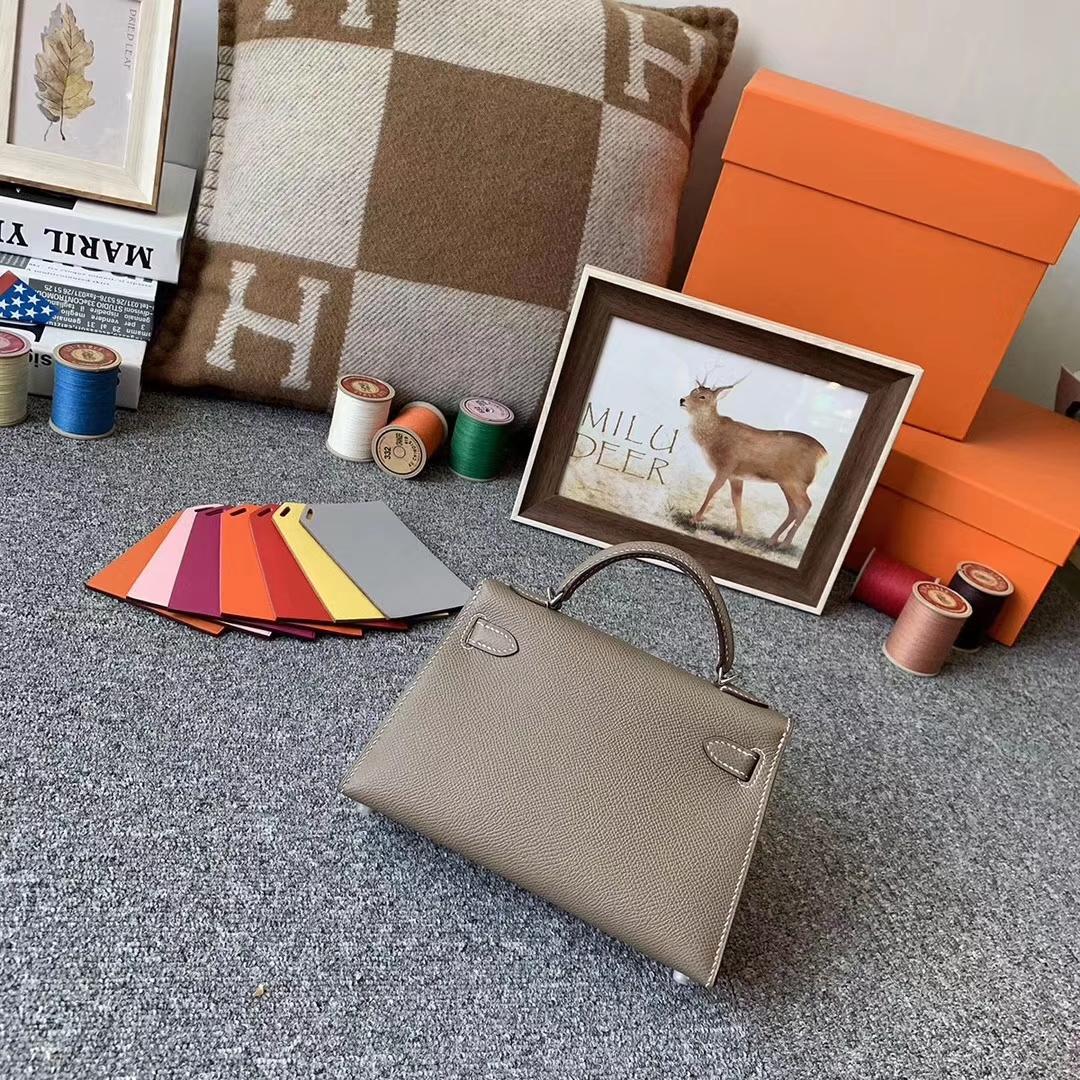 Hermès(爱马仕)CK18 大象灰 原厂御用顶级Epsom 皮 Mini Kelly 二代 银扣