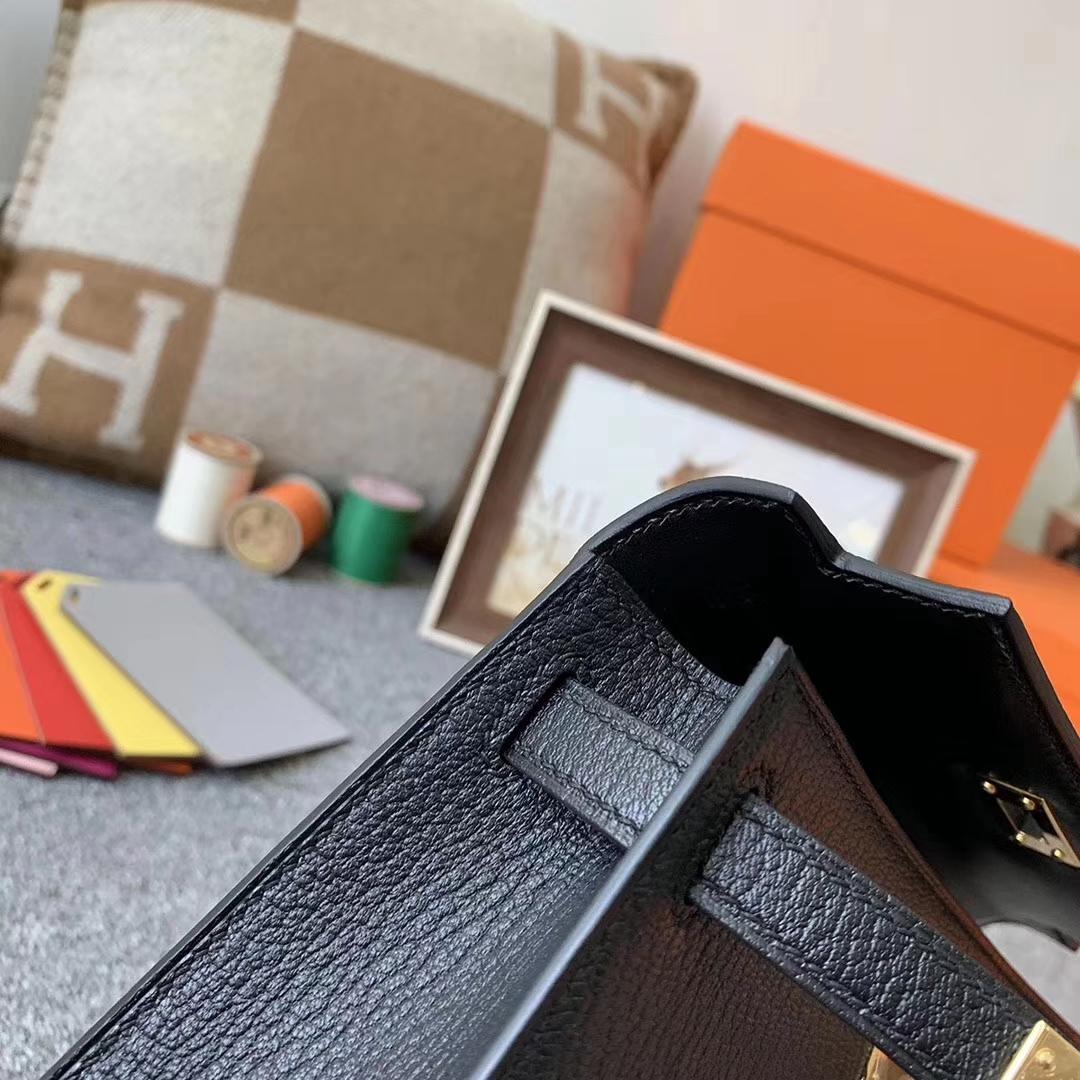 Hermès(爱马仕)89黑色  原厂御用顶级山羊皮 Mini Kelly 二代 金扣