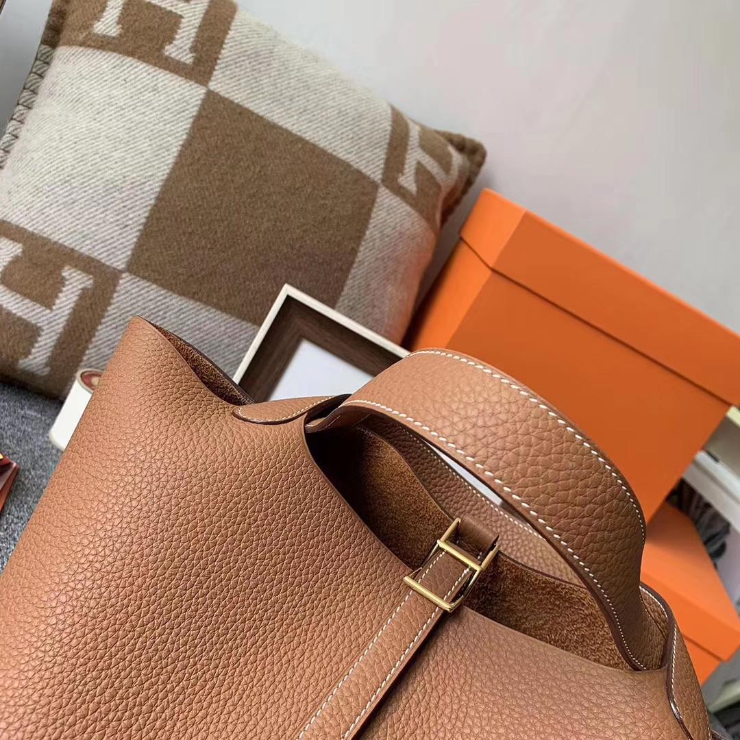 Hermès(爱马仕)C37 浅咖啡 原厂御用顶级TC 皮 Picotin Lock 22cm 金扣 现货