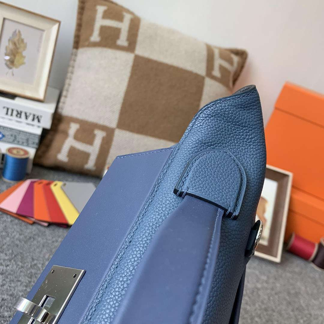 Hermès(爱马仕)R2 玛瑙蓝 原厂御用顶级TC皮拼Swift 皮 2424 银扣 现货
