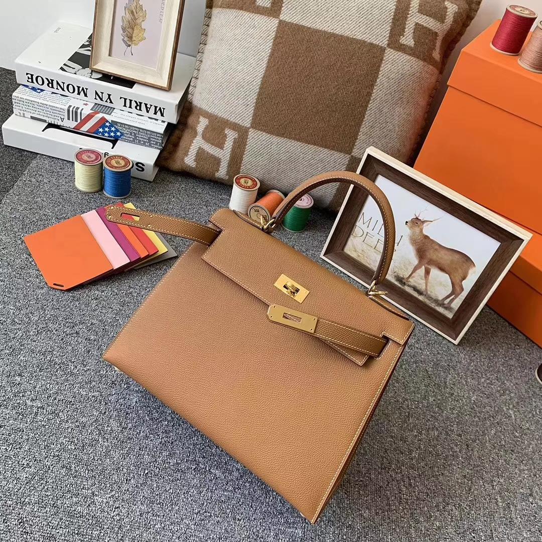Hermès(爱马仕)C37 金棕色 原厂御用顶级Epsom 皮 Kelly 28 外缝 金扣 现货