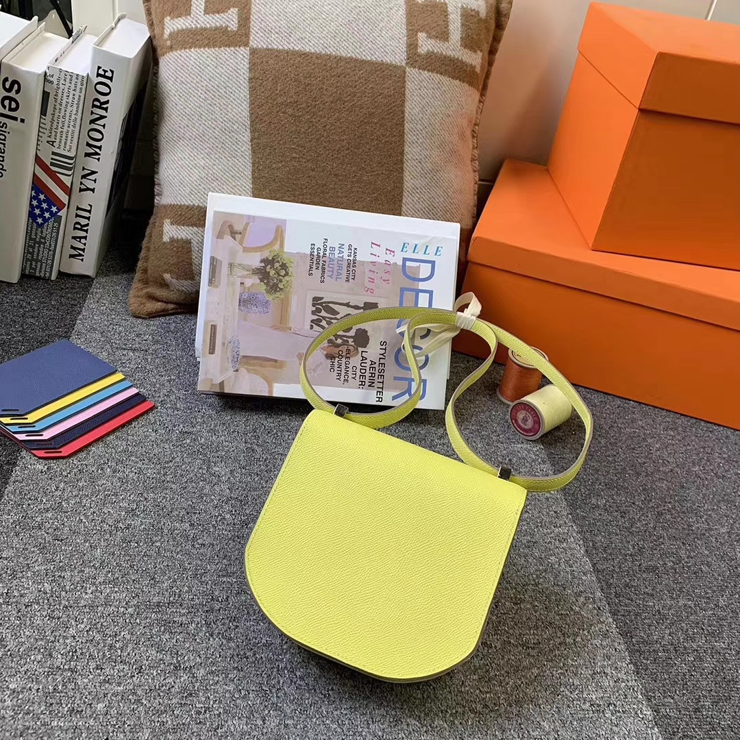 Hermès(爱马仕)柠檬黄 原厂御用顶级Epsom 皮 马赛克 浅金扣 银扣 现货