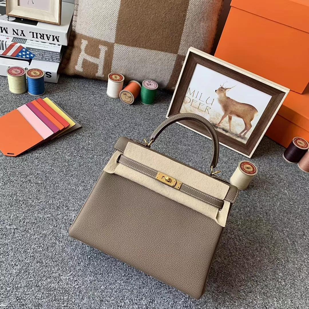 Hermès(爱马仕)大象灰 原厂御用顶级小牛皮 Kelly 25 金扣 现货