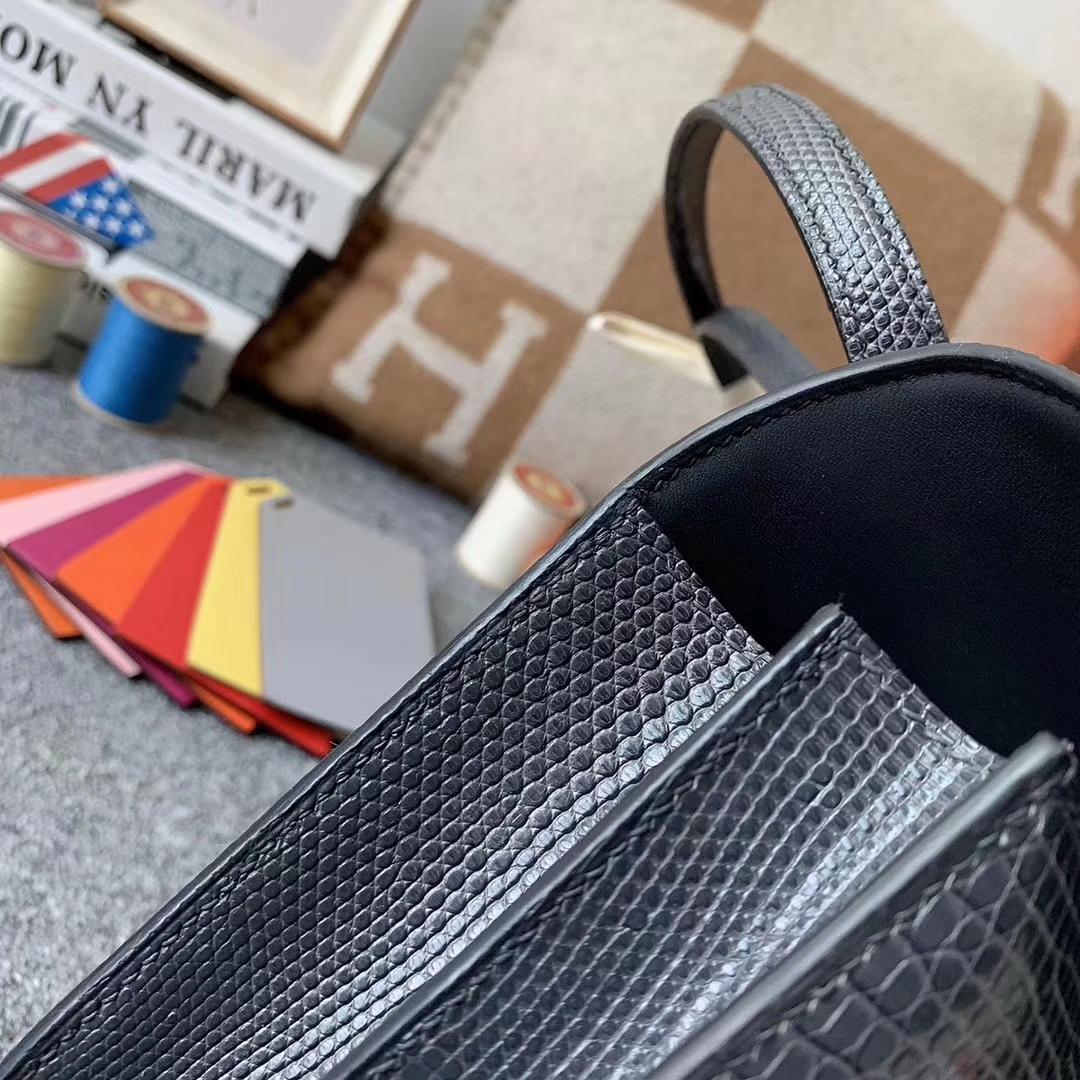 Hermès(爱马仕)8F锡器灰 原厂御用顶级蜥蜴皮 Constance 26 玫瑰金扣