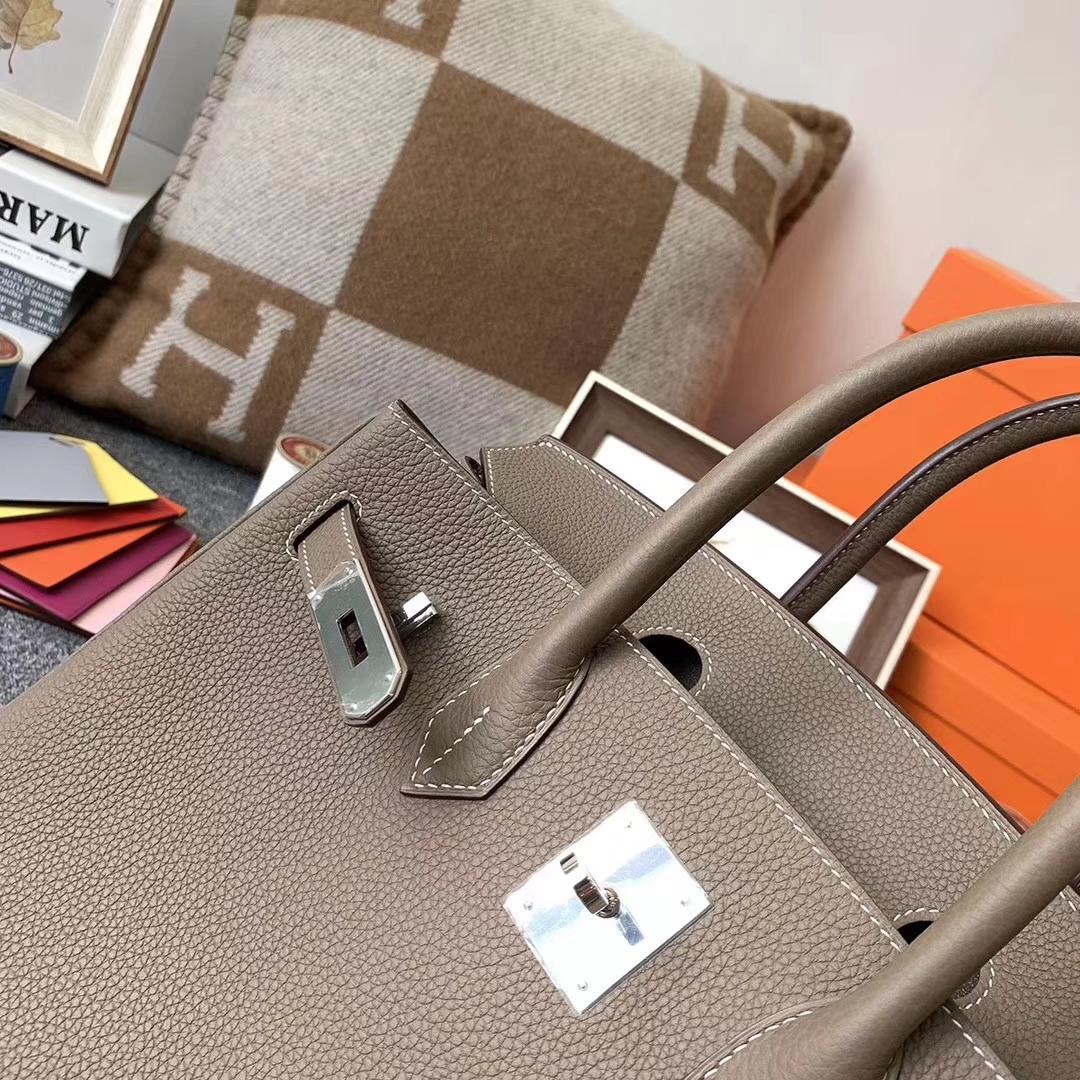 Hermès(爱马仕)CK18 大象灰 原厂御用顶级小牛皮 Birkin 30 银扣 现货