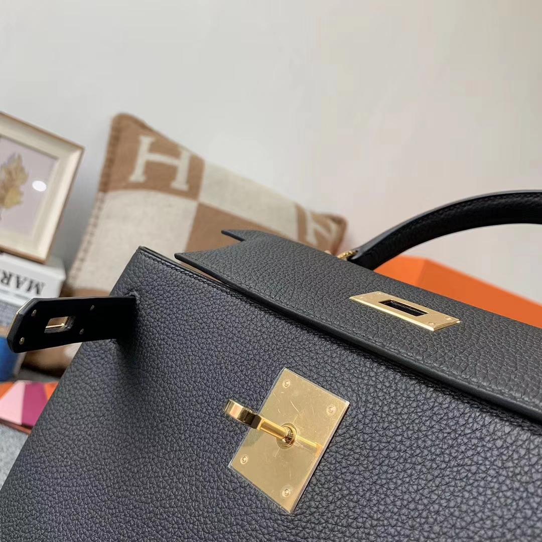 Hermès(爱马仕)CK89 黑色 原厂御用顶级小牛皮 Kelly 28 金扣 现货