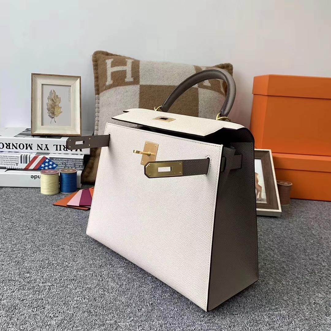 Hermès(爱马仕)奶昔白拼沥青灰 原厂御用顶级Epsom 皮 Kelly 28 外缝 拉丝金扣