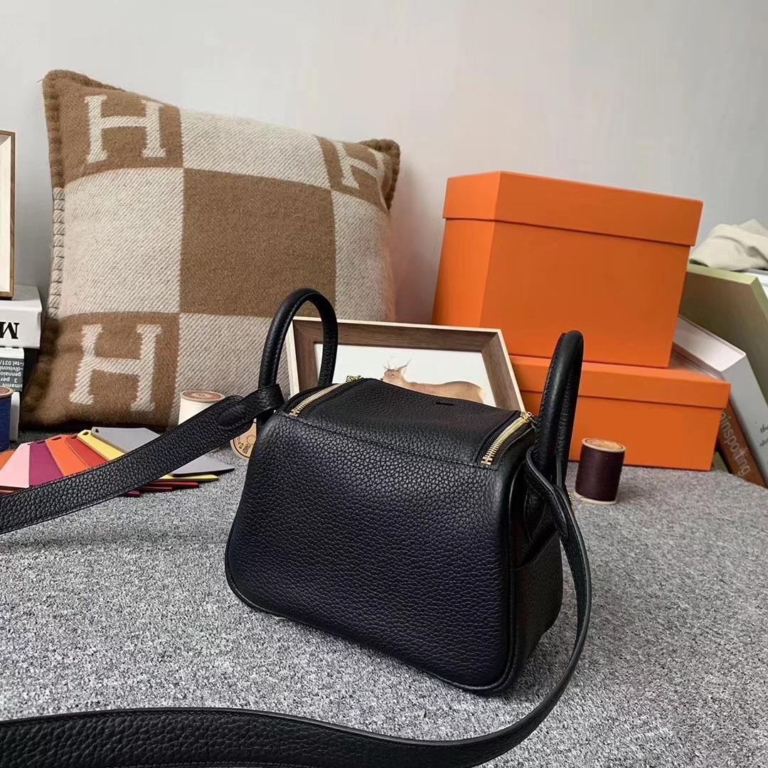 Hermès(爱马仕)CK89 黑色 原厂御用顶级TC皮 Mini Lindy 金扣 银扣 现货