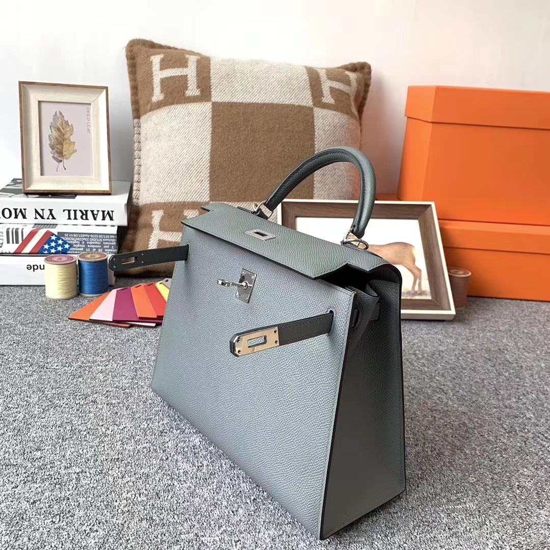 Hermès(爱马仕)杏绿色 原厂御用顶级epsom 皮 Kelly 25 银扣 现货