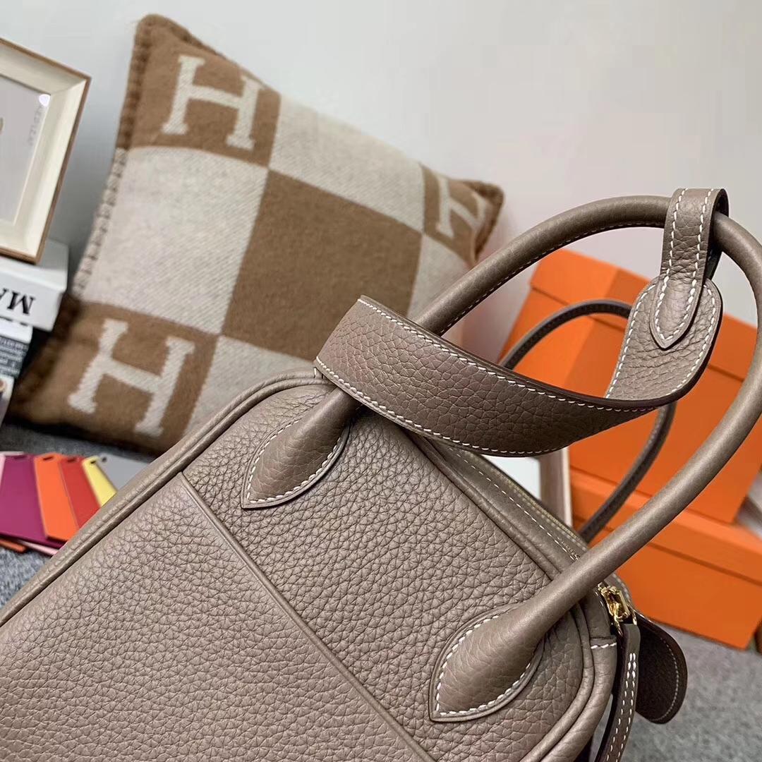 Hermès(爱马仕)CK 18大象灰  原厂御用顶级小牛皮 Lindy 26 金扣 现货