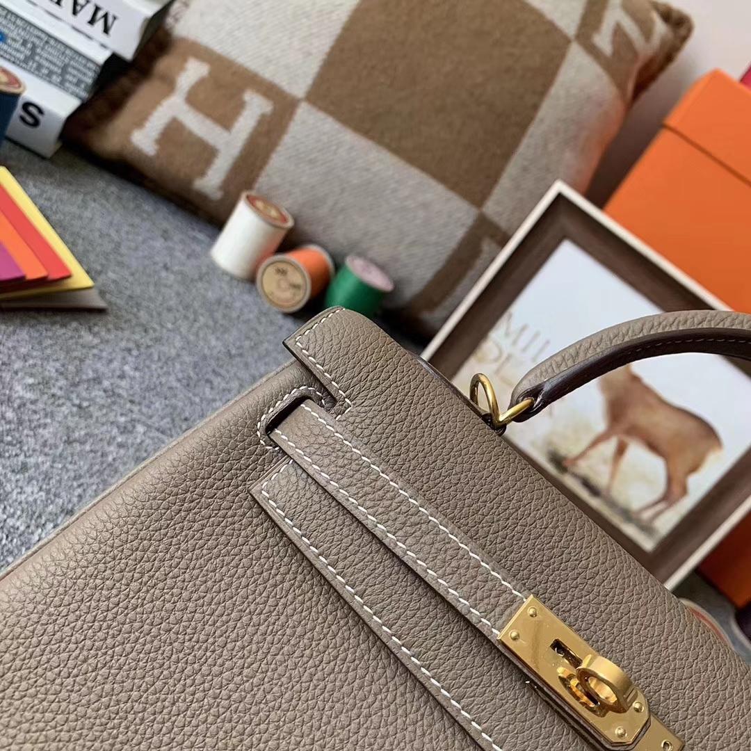 Hermès(爱马仕)CK18 大象灰 原厂御用顶级小牛皮 Kelly 25 金扣 现货