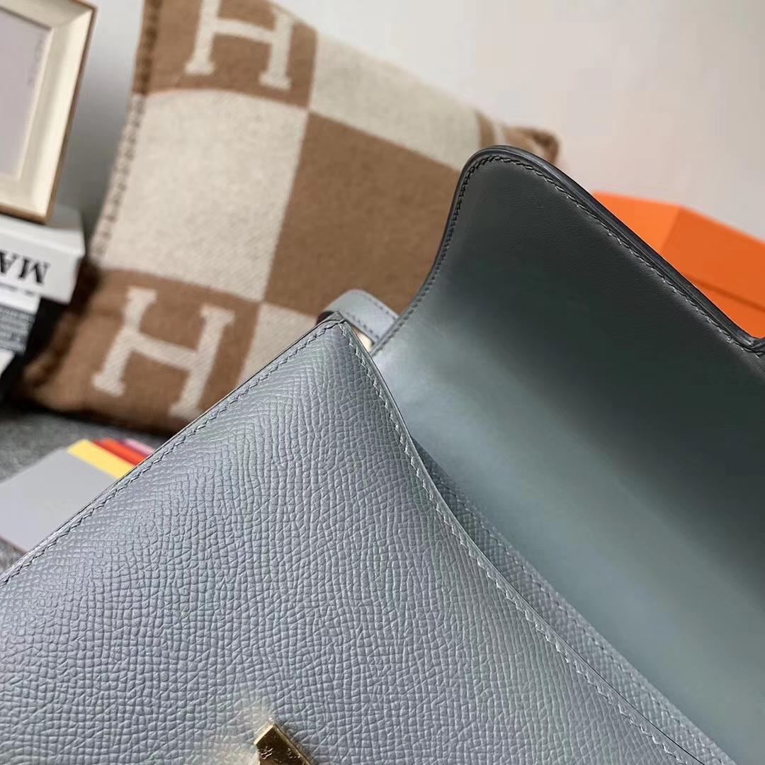 Hermès(爱马仕)CC63 杏绿色 原厂御用顶级Epsom 皮 Constance19 金扣 现货