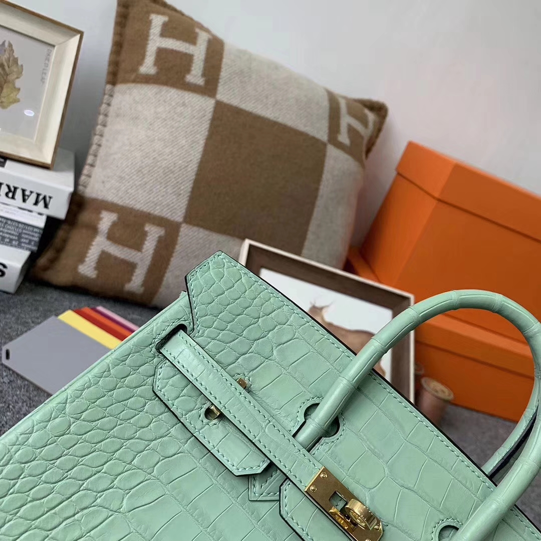 Hermès(爱马仕)薄荷绿 原厂御用顶级雾面鳄鱼皮 Birkin 25 金扣 现货