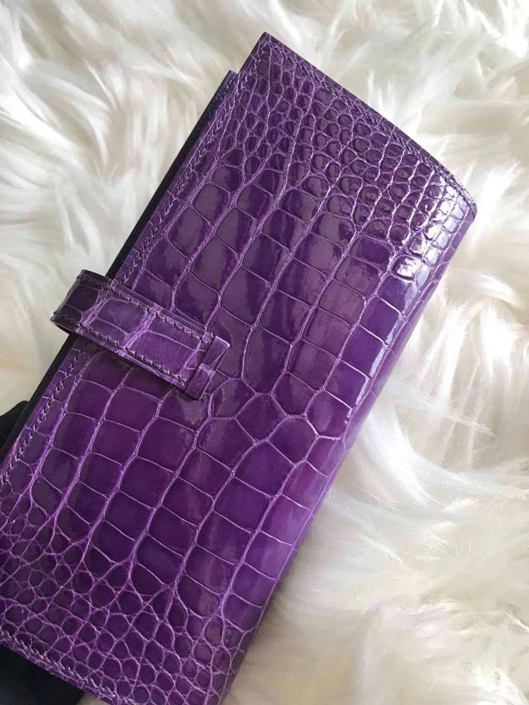 Hermès(爱马仕)bearn 长款钱夹 梦幻紫 原装等级进口美洲鳄鱼 现货