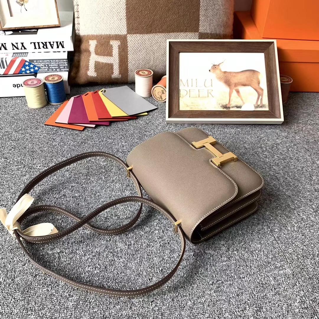 Hermès(爱马仕)CK18 大象灰 原厂御用顶级Monsieur皮 新皮 Constance 19 金扣 现货