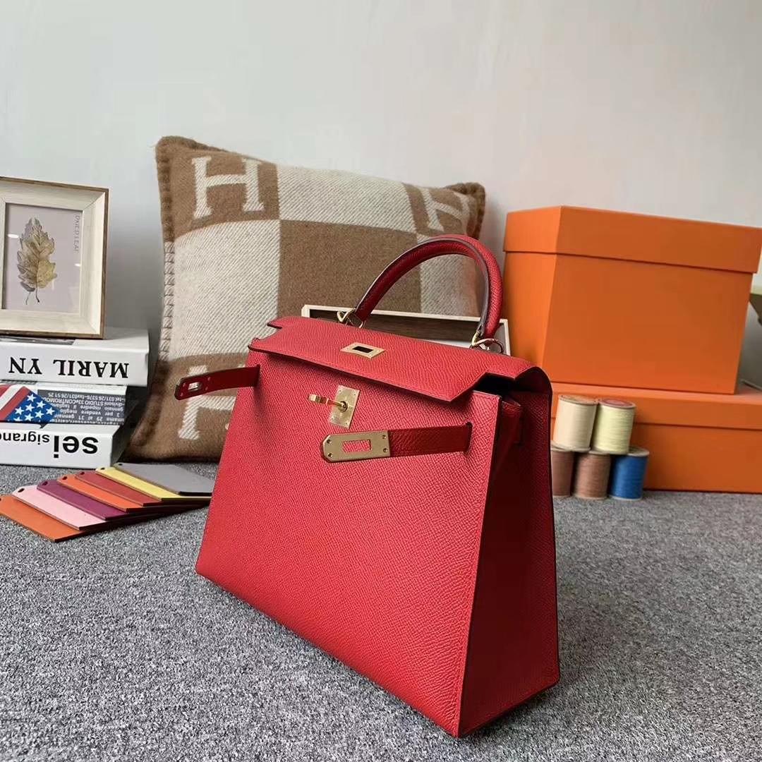 Hermès(爱马仕)Q5 中国红 原厂御用顶级Epsom 皮 Kelly 25 外缝 订单出货