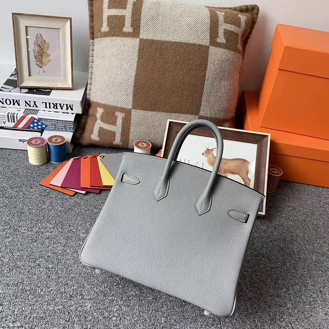 Hermès(爱马仕)8U冰川蓝 原厂御用顶级小牛皮 Birkin 25 银扣 现货