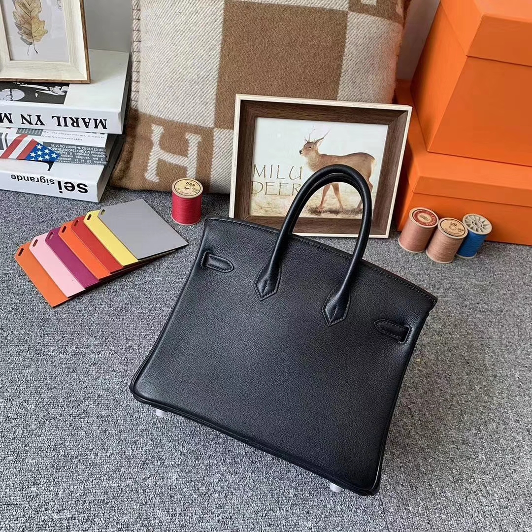 Hermès(爱马仕)cK89 黑色 原厂御用顶级Swift 皮 Birkin 25 银扣