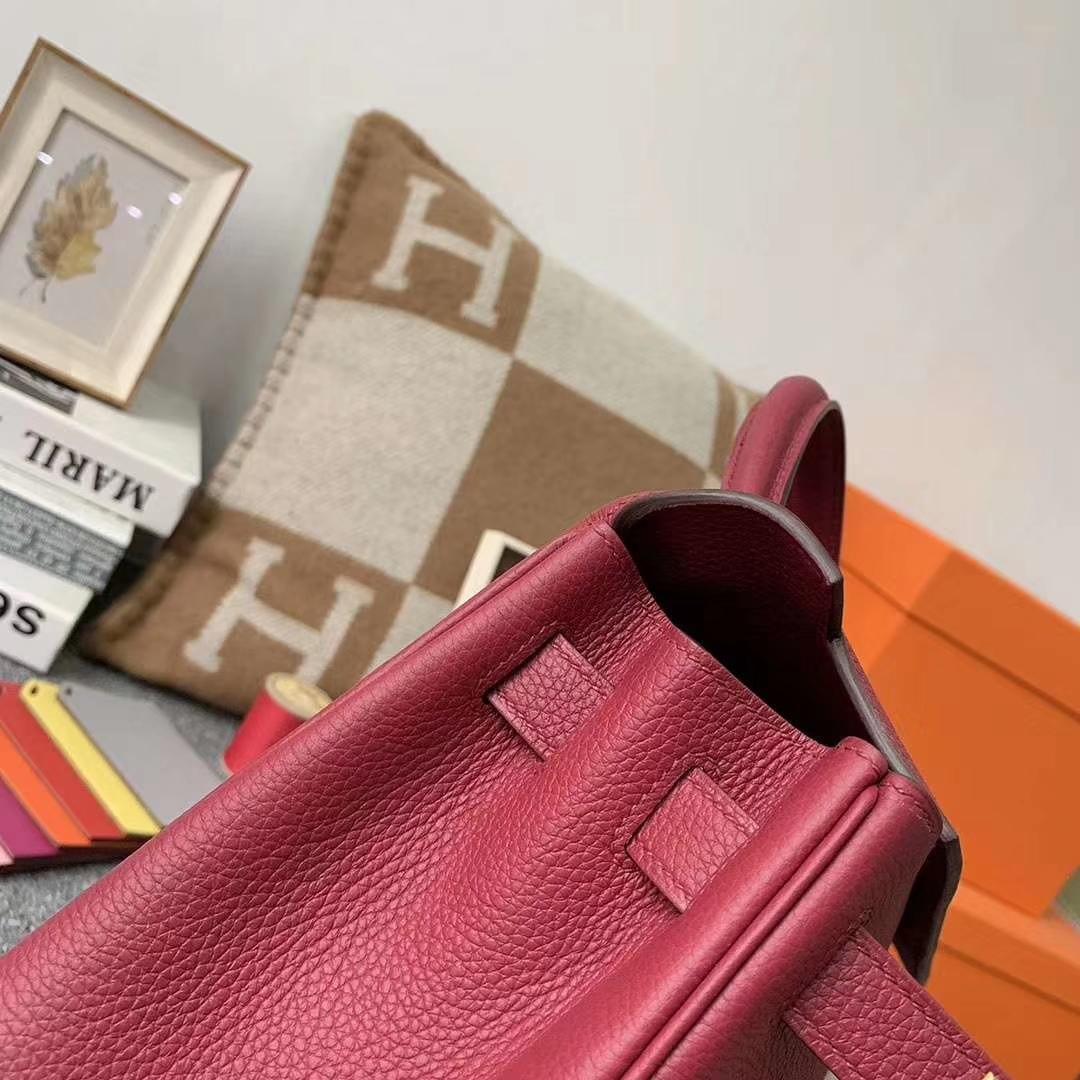 Hermès(爱马仕)K1 石榴红 原厂御用顶级小牛皮 Kelly 28 金扣