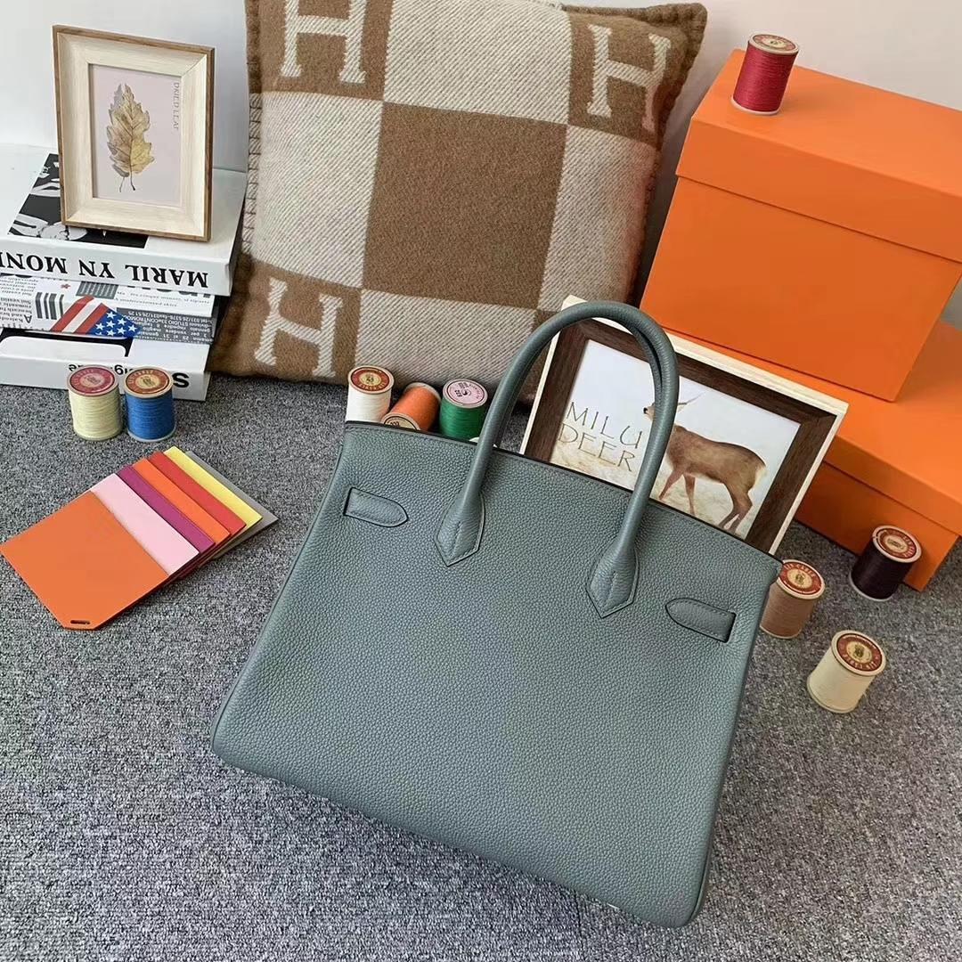 Hermès(爱马仕)杏绿色 原厂御用顶级小牛皮 Birkin 30 银扣 订单出货