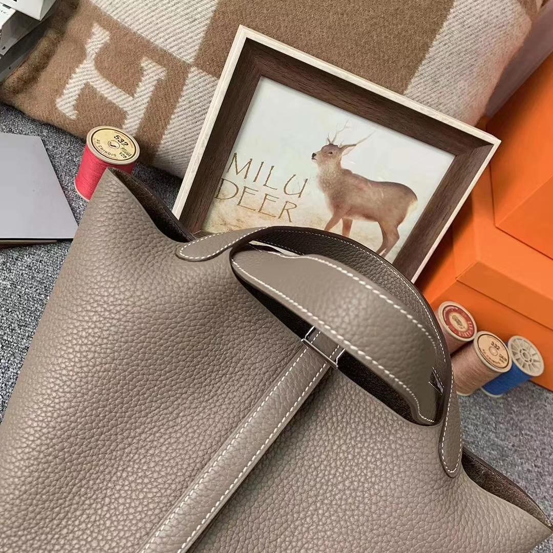 Hermès(爱马仕)cK18 大象灰 原厂御用顶级TC 皮 Picotin  Lock 18cm 银扣 现货
