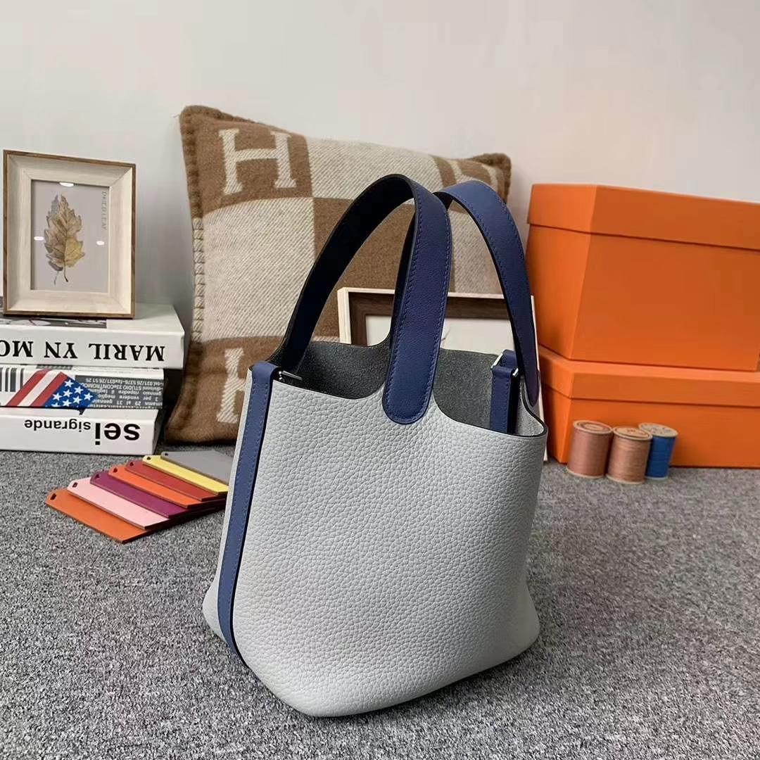 Hermès(爱马仕)J7 亚麻蓝拼R2玛瑙蓝 原厂御用顶级TC 皮 Picotin  Lock 18cm 银扣 现货