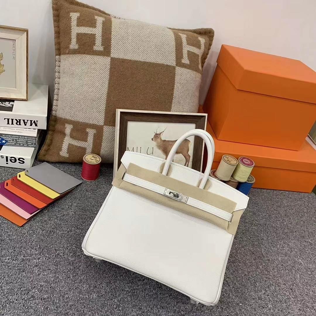 Hermès(爱马仕)纯白色 原厂御用顶级Epsom 皮 Birkin 25 银扣 订单出货