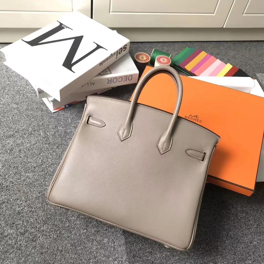 Hermès(爱马仕)m8 沥青灰 原厂御用顶级Swift 皮 Birkin 25 银扣 订单出货