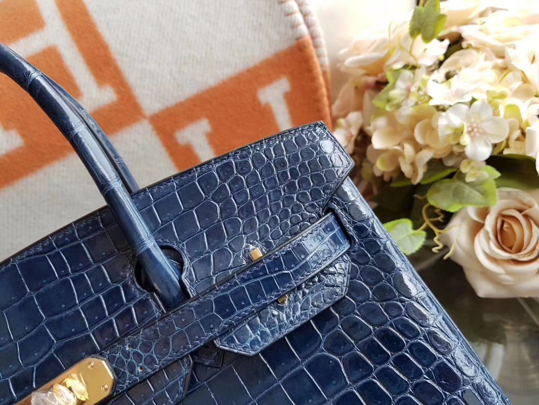 Hermès(爱马仕)Birkin 30cm 亮面 鳄鱼皮 BLEU THALASSA 7A皇家蓝色 金扣