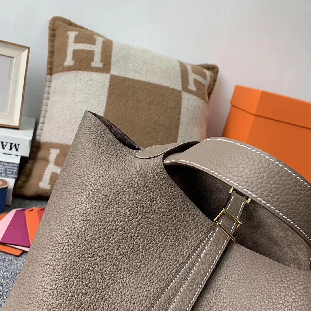 Hermès(爱马仕)CK18 大象灰 原厂御用顶级TC 皮 Picotin Lock 22cm 金扣 银扣 现货