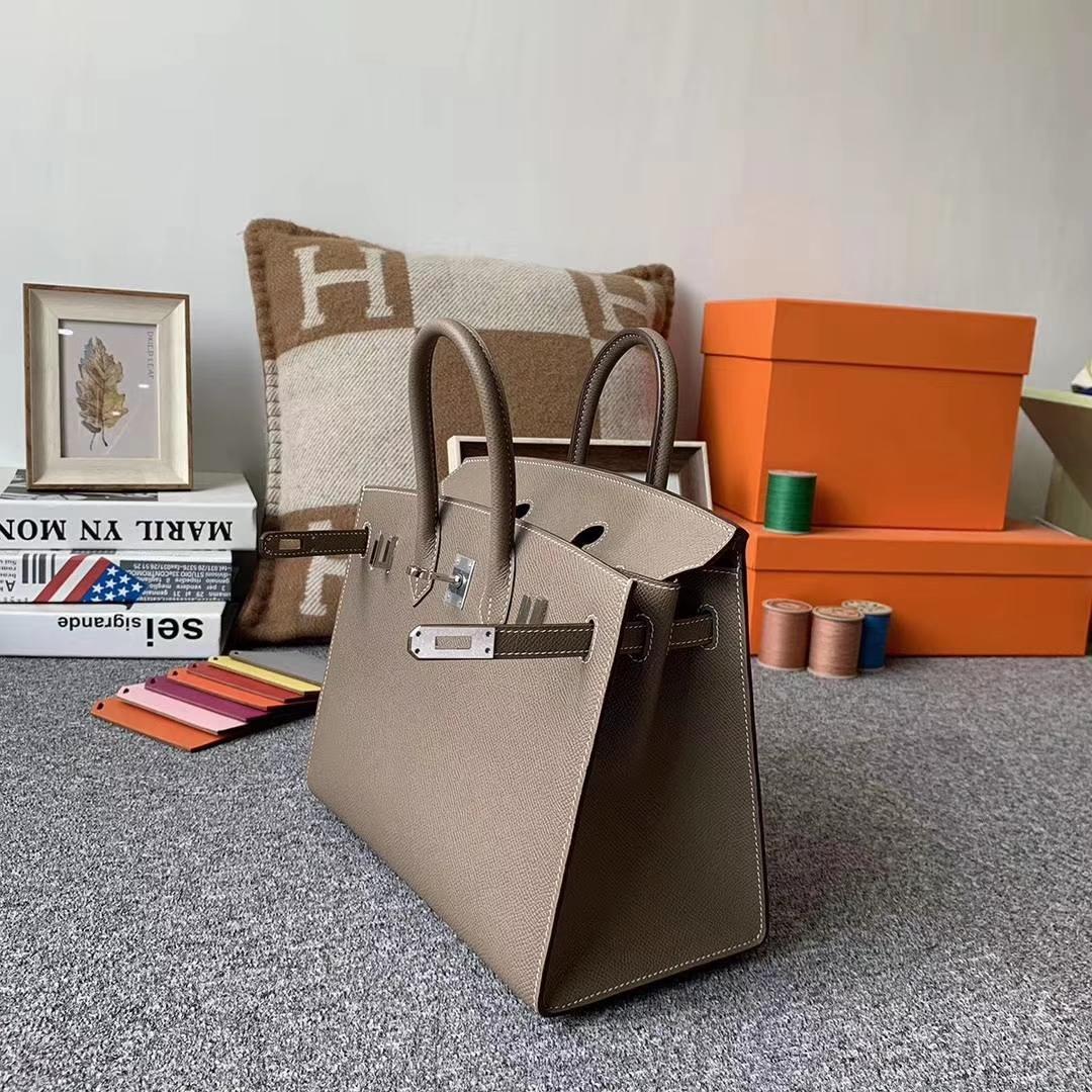 Hermès(爱马仕)新款 Birkin 25 大象灰 银扣外缝 已出版 完美包型