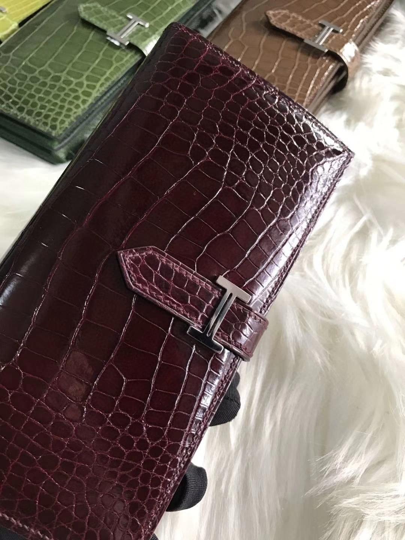 Hermès(爱马仕)bearn 长款钱夹 酒红色 原装等级进口美洲鳄鱼 现货