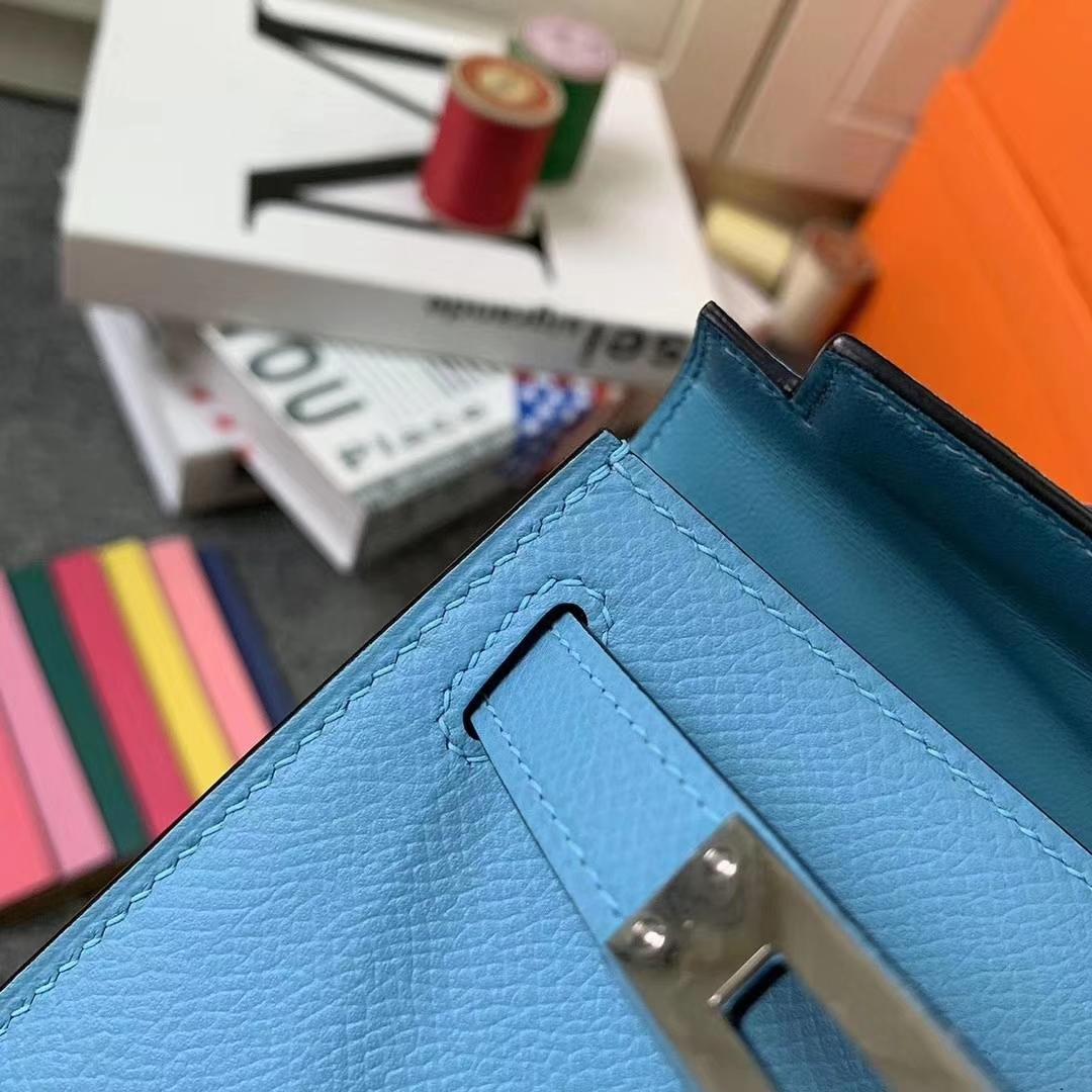 Hermès(爱马仕)北方蓝 原厂用御顶级Epsom 皮 Mini Kelly 二代 金扣 现货