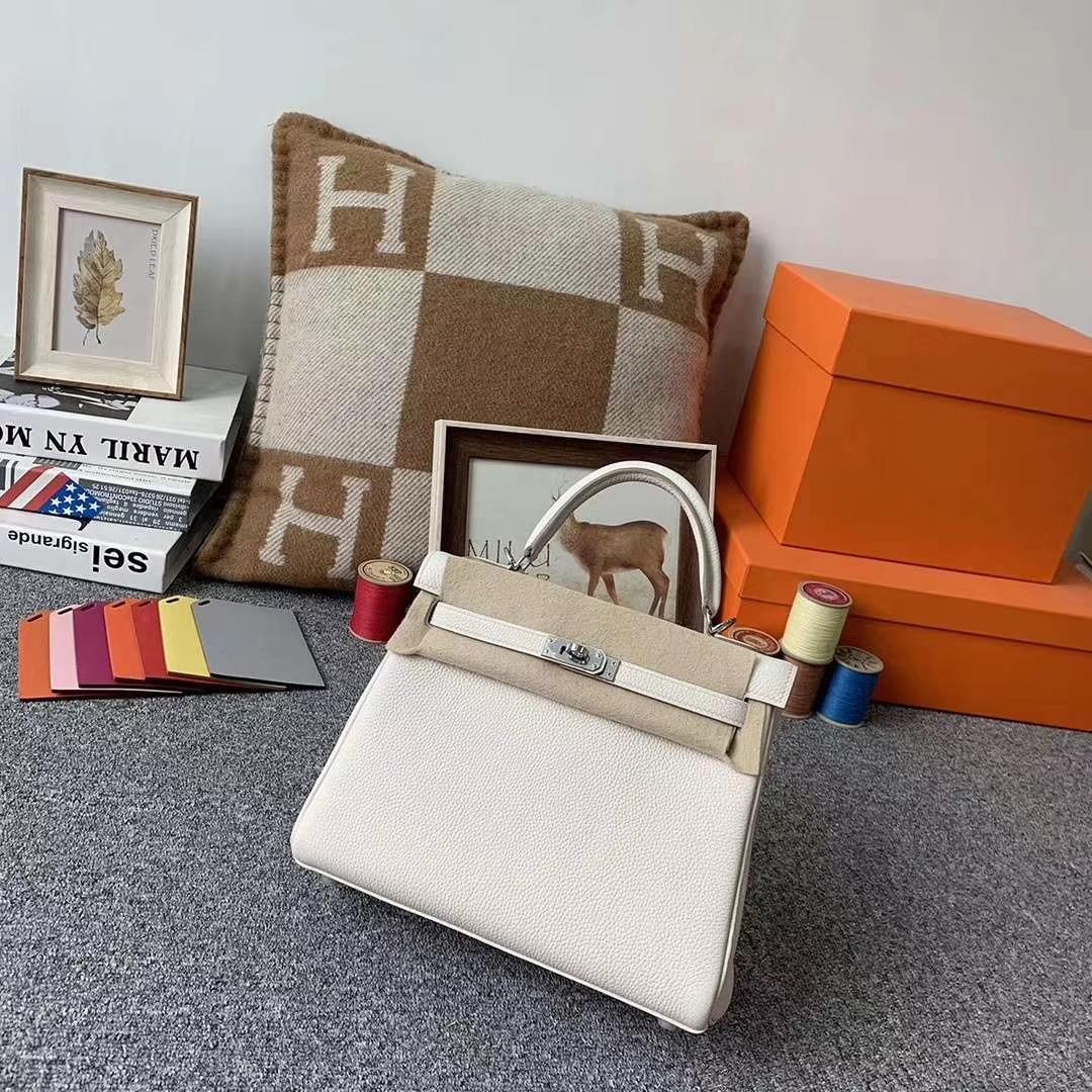 Hermès(爱马仕)8L冰川白 原厂御用顶级小牛皮 Kelly 25 银扣