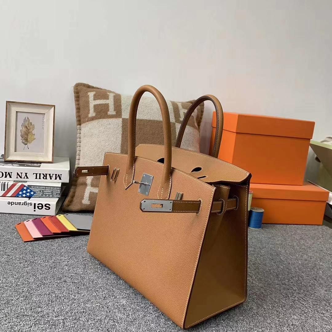 Hermès(爱马仕)C37金棕色 原厂御用顶级Epsom 皮 Birkin 30 外缝 银扣 现货
