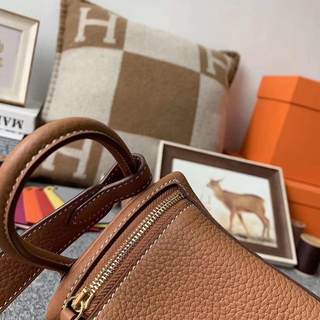 Hermès(爱马仕)C37金棕色 原厂御用顶级TC皮 Mini Lindy 金扣 现货